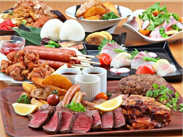 【夏休み 平日限定 2食付】 牛・豚・鶏が一度に楽しめる!ファミリー肉盛り&屋台メニュー 宿泊プラン