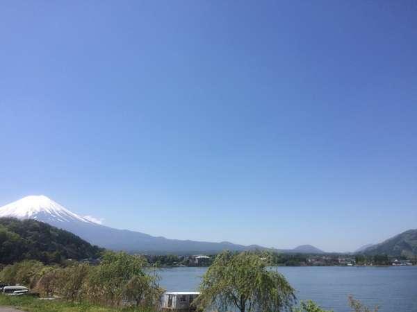 湖畔側からのお部屋から望む富士山と河口湖