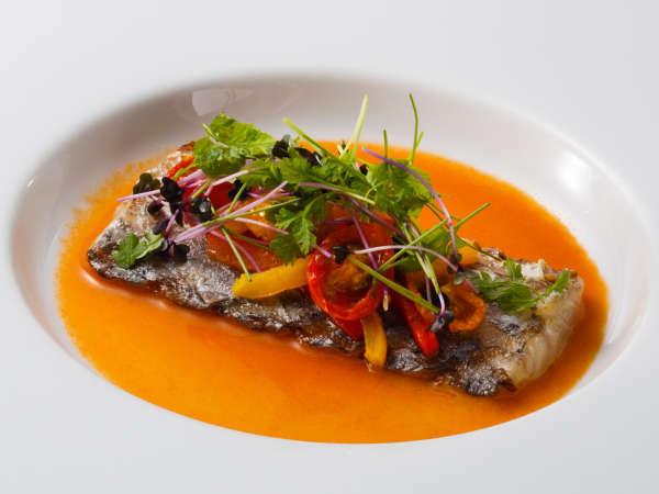ディナーコース「富士屋浪漫」太刀魚のグリル トマト入りブールブランソース