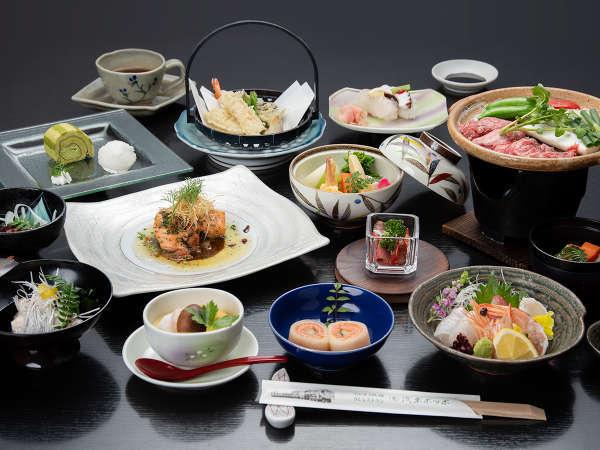 *【別邸会席料理一例】地元で獲れた新鮮な食材を使用した手づくり料理。