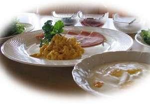 朝食が洋食の時のメニュー例。ご希望により和食の日も。