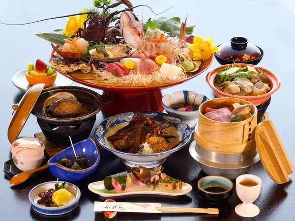 【みえ食旅パスポート付】祝い魚☆めでたい四大味覚膳『伊勢海老・鮑・松阪牛・鯛・旬の食材』