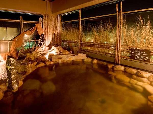 ◆【大浴場】天然温泉「天北の湯」男性露天風呂。泉質:ナトリウム塩化物強塩泉 効能:関節痛、神経痛など