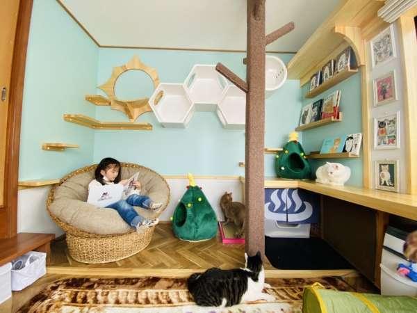 【 猫専用部屋 】 飼い主も猫ちゃんと一緒に寛げるスペース(約5畳)