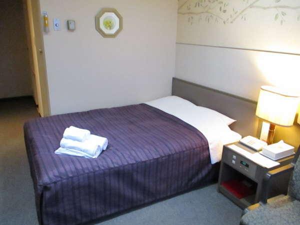 ダブルルームの一例。お部屋の広さは15平米でベットサイズは140×195