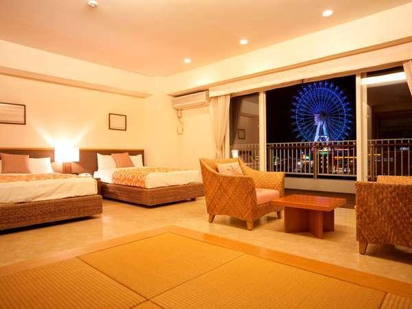 琉球畳とツインの100平米のお部屋はファミリーにも大人気!!