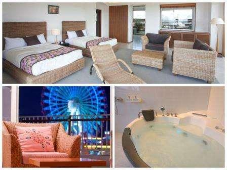 フロアに2部屋しかないジャグジー付きのプライベートルーム。全室離れ部屋で広さ100平米の開放的な空間。