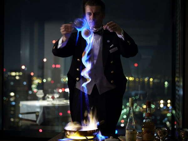 炎の演出チェリージュビレ ※イメージ(35階「レストランエメラルド」)