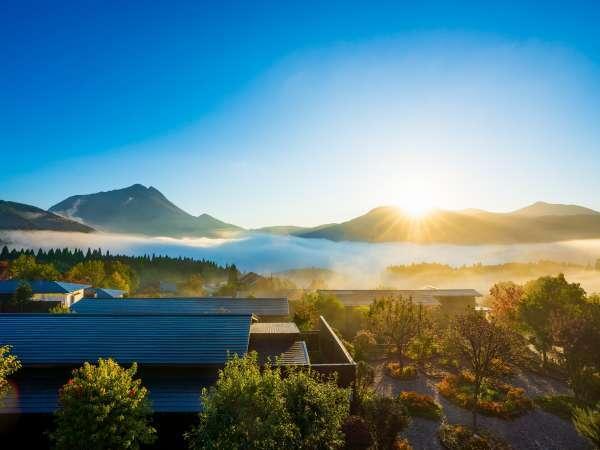 ロビーより由布院の町にかかる朝霧を一望できる。