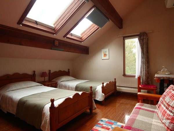 天窓付のツインルーム(バス・トイレ付)夜は窓から星空も望めます☆