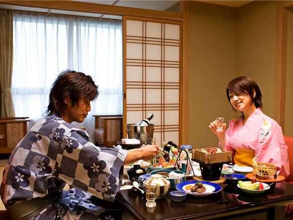【ご夕食は個室でゆっくり・スタンダード】旬の食材を使った四季彩・基本会席プラン