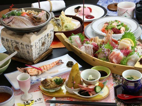【海月-umituki-春】 舟盛りのついた海鮮コース!旬のお魚をたくさん召し上がってください♪