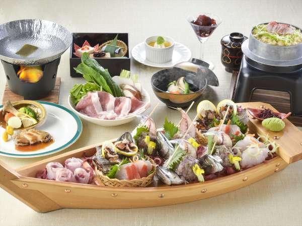 【夕食・朝食付】松茸、金目鯛、鮑やふじのくにポークに旬の地魚 お造りのついたおすすめ会席|11月迄