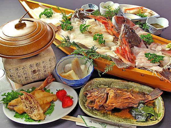 獲れたて旬魚+大漁舟盛+和牛陶板焼【食の競演プラン♪】