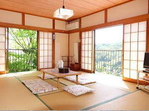和室10畳:白浜の海と谷越えの山の景色が見えます 無料Wi-Fiご利用になれます♪