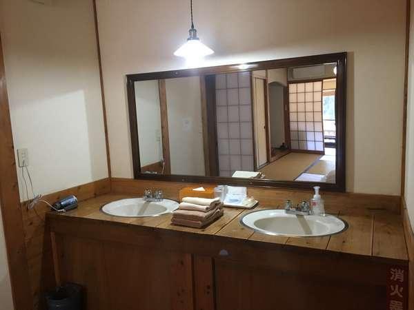 洗面スペースは2人同時に使用できます。ドライヤーは各部屋に備え付けられています。