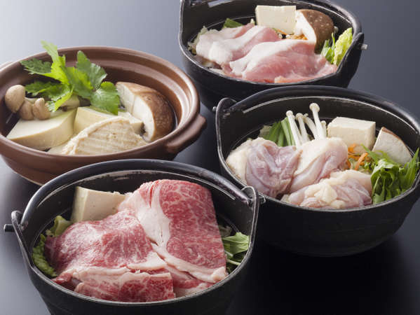 ≪猪・鶏・牛・豆腐の4つの鍋からチョイス≫ で祖谷の選べる季節鍋プラン