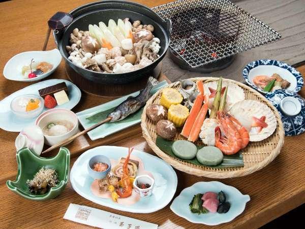 【 松コース/囲炉裏 】旬の山の幸が香ばしく薫る、お料理グレードアッププラン