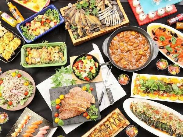 目の前で出来上がる実演料理も充実♪和食・洋食・中華料理ビュッフェ食で◎