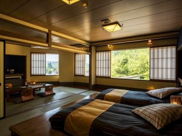 【本館/和洋室】ベッドは少し低めのローベッドでゆったりと寛げます