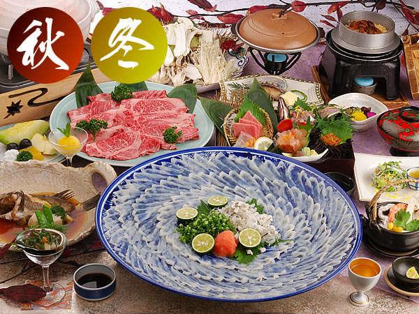 【秋冬】特選旬膳お料理イメージ旬のふぐを堪能♪ふぐ刺し・お肉は写真は4人盛り