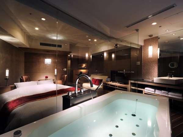 【VIEW BATH〜luna〜/素泊まり】ビューバスルームのデビューに!42平米ダブルベッドルーム