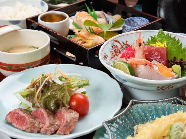 *夕食(花籠会席一例)●お造りや肉料理などいろいろと楽しみたいお客様におすすめのお食事です。