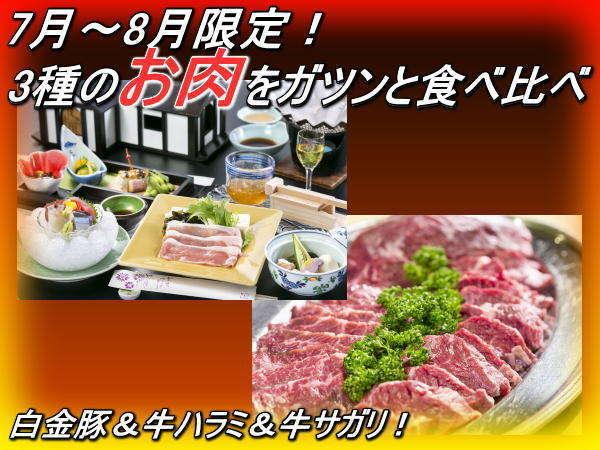 <白金豚&牛ハラミ&牛サガリ>3種のお肉を食べ比べ!