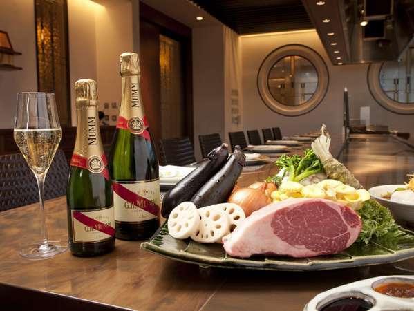 【アニバーサリーディナー】鉄板焼フルコース+グラスシャンパン、ケーキ、花束など記念日特典付きプラン