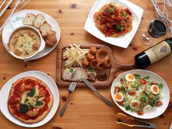 *夕食一例/イタリアンコースの全体例。メイン・サイドメニュー・前菜とボリューム満点♪