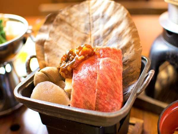 特産ブランド牛「阿波牛」 そば味噌朴葉焼