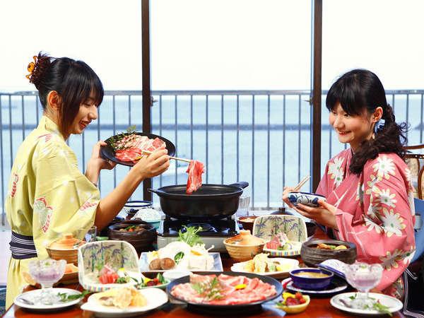 【薩摩豚しゃぶ食べ放題プラン】海が見えるお部屋でゆっくりお部屋食♪(4名以上は個室食)