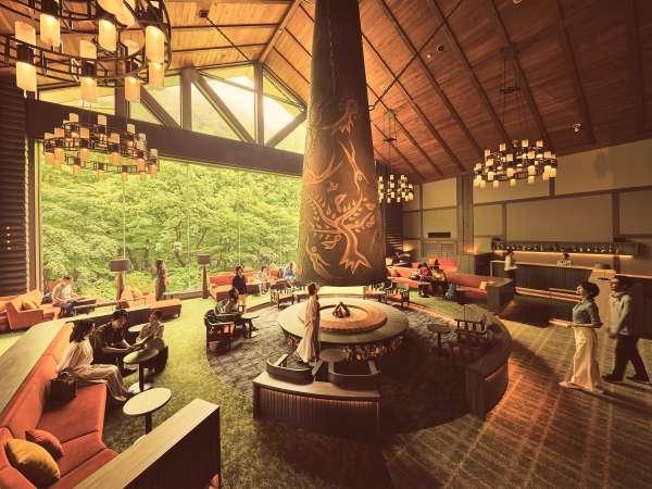 【ロビー 森の神話】岡本太郎作の巨大暖炉「森の神話」が印象的な寛ぎの空間