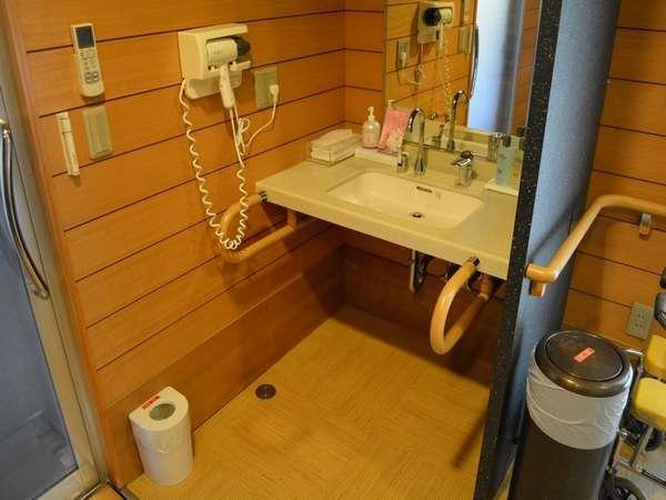 介護機能付貸切風呂 露天風呂 洗面台