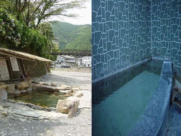 内湯の湯船は1.5畳ほど。天然温泉かけ流しです。露天風呂も御座います。