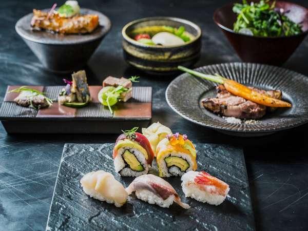 【夕食】SUSHI&GRILLコースA 当館のご夕食スタンダード!寿司と道産のお肉を使用しております。