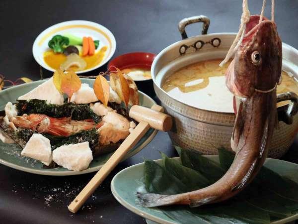【三陸産のキンキ】希少な高級魚キンキの塩釜焼き+フカヒレを満喫+真鱈たっぷり汁+30品バイキング
