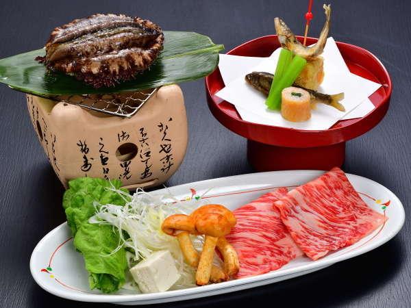 【お料理グレードアップ】 神戸牛+国産あわび+稚鮎!夕部屋食 「春の味わい会席プラン」