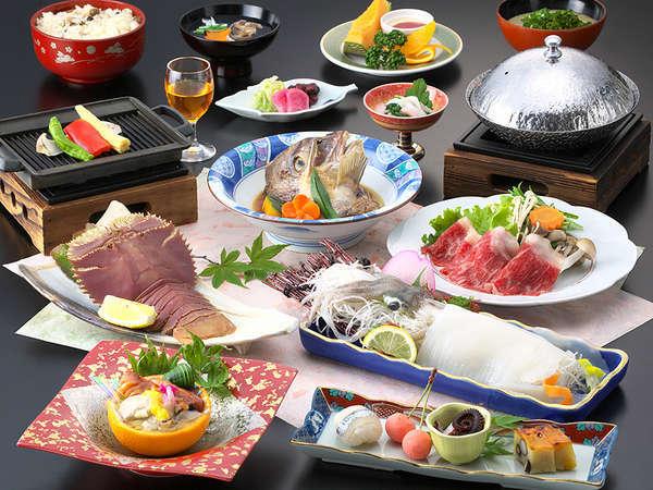 【季節限定】山海食べ比べ会席プラン こだわりのメイン料理を3種類【楓】≪3〜5月≫
