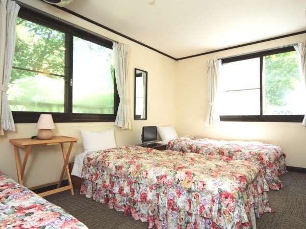 【客室】3名様まで宿泊可能なレギュラールーム(トリプルベッド)。窓から見える木々の緑に心癒されます。