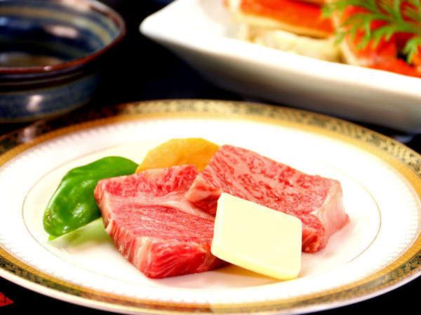 若狭牛ステーキ。陶板でしっとり焼いてお楽しみ下さい♪