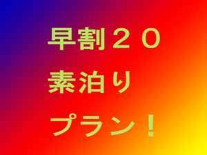 ★早期割スペシャル20★20日前予約!素泊りプラン 普通車サイズ無料駐車場完備!
