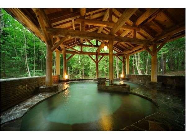 森にすっぽり溶け込んだ温泉と雄大な景色に癒される森の宿