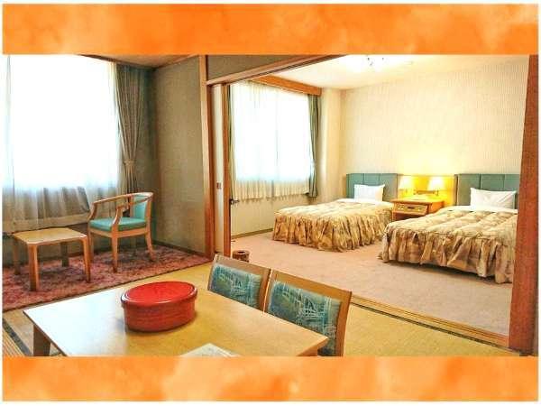 【和洋室】広々とした和室部分とベッドでゆっくりおくつろぎください。