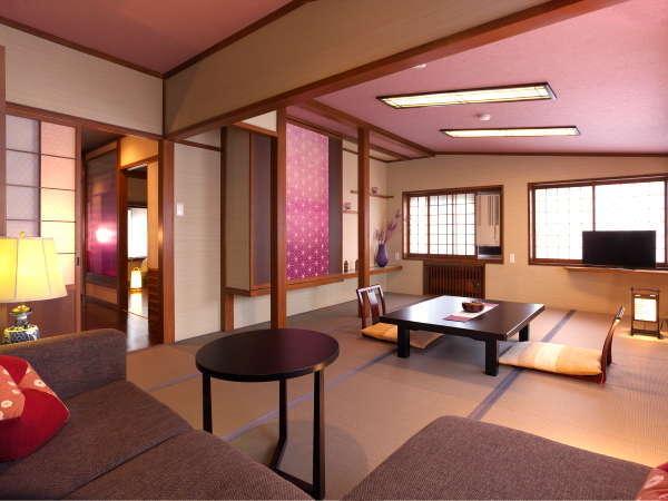 【泉游亭「あざみ」指定プラン】和室にソファーを配した艶やかな紅紫を基調としたお部屋