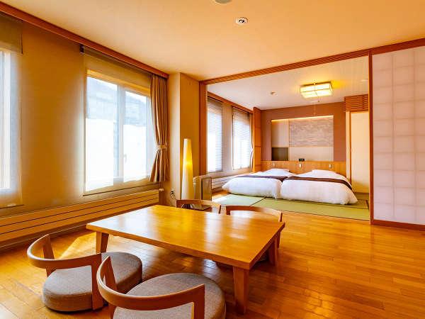 47平米の広々とした和洋室は最大4名様までご宿泊いただける当館イチオシのお部屋です。
