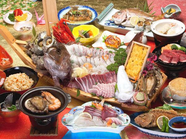 【夕食一例】別途料金で舟盛りをご用意することもできます