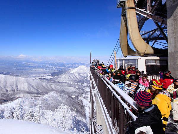 竜王スキーパーク<ロープーウェイ・リフト1日券&送迎付>スキーの後は、温泉で温まろ♪