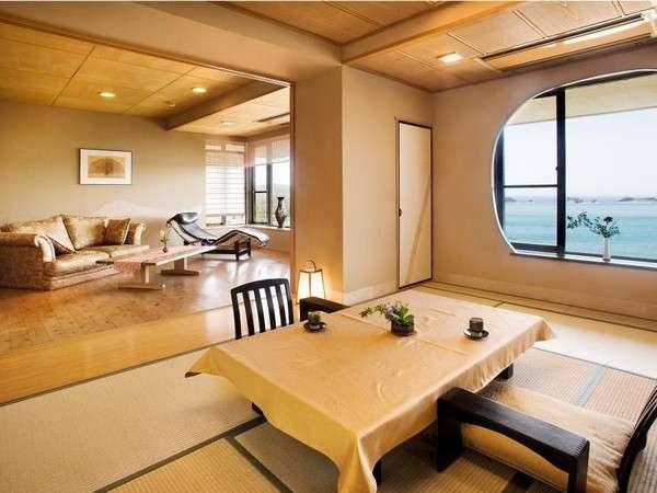 和室にリビングと露天風呂がついた、合計85平米の広々スイート(一例)