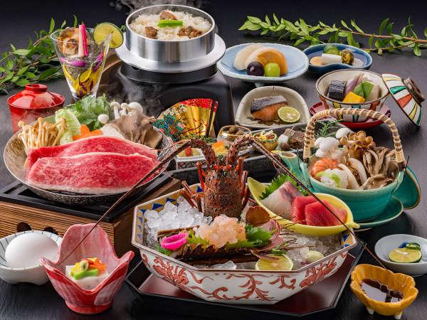 ◆遷宮会席◆ 伊勢海老は姿造りに。また、メイン料理を2つから選ぶ贅沢な会席コース